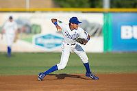 Burlington Royals shortstop Nicky Lopez (4) makes a throw to first base against the Princeton Rays at Burlington Athletic Stadium on June 24, 2016 in Burlington, North Carolina.  The Rays defeated the Royals 16-2.  (Brian Westerholt/Four Seam Images)