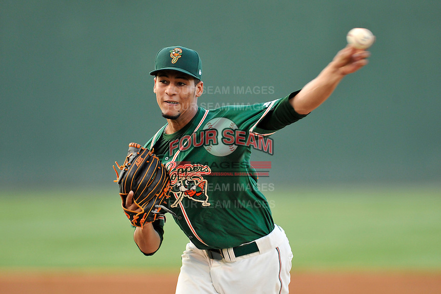 Pitcher Gabriel Castellanos (25) of the Greensboro Grasshoppers delivers a pitch in a game against the Greenville Drive on Wednesday, August 26, 2015, at Fluor Field at the West End in Greenville, South Carolina. Greenville won, 7-0.  (Tom Priddy/Four Seam Images)