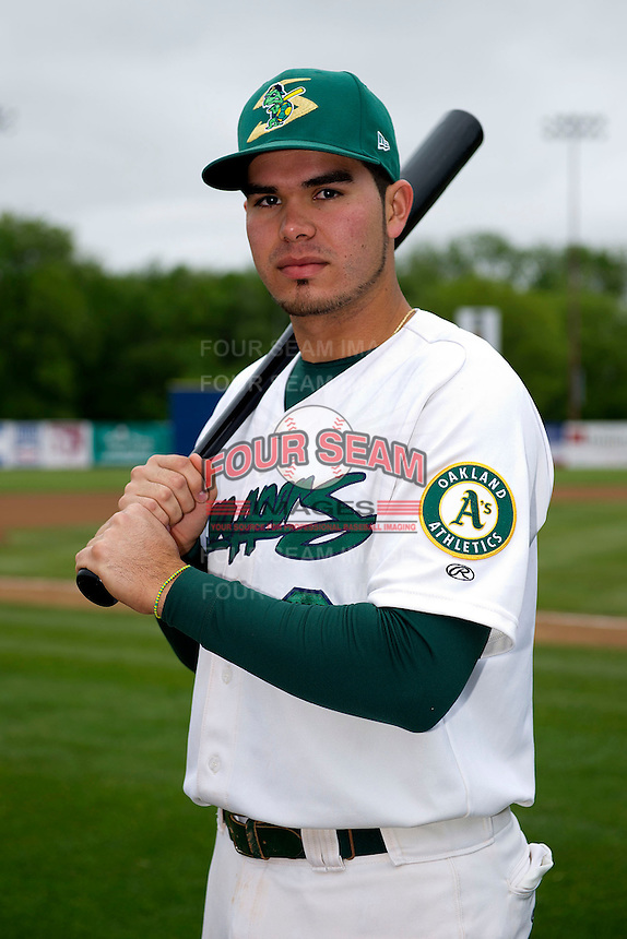 Beloit Snappers third baseman Renato Nunez #8 poses for a photo before a game against the Cedar Rapids Kernels on May 23, 2013 at Pohlman Field in Beloit, Wisconsin.  Beloit defeated Cedar Rapids 5-3.  (Mike Janes/Four Seam Images)