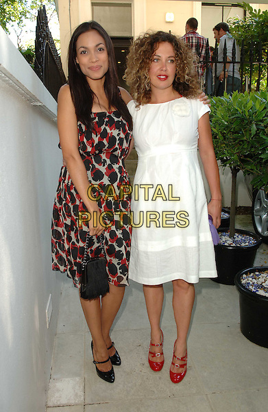 ROSARIO DAWSON & TARA SMITH.Launch party for the Tara Smith Hair Products, Hemple Hotel, London, England, UK, .July 15th 2008.full length white dress curly hair red black Mary Janes double strap shoes black print dress pattern bag purse .CAP/WIZ.© Wizard/Capital Pictures.