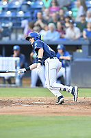 Asheville Tourists Will Golson (8) swings at a pitch during a game against the Lakewood BlueClaws at McCormick Field on August 3, 2019 in Asheville, North Carolina. The BlueClaws defeated the Tourists 10-6. (Tony Farlow/Four Seam Images)