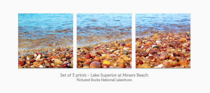 Display a print in a different way with this 3-print photo split of the Lake Superior shoreline at Miners Beach, Pictured Rocks National Lakeshore.