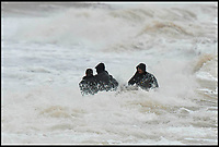 BNPS.co.uk (01202 558833)<br /> Pic: Graham Hunt/BNPS<br /> <br /> The Cruel Sea - Attempts to film Saoirse Ronan emerging from a bathing machine into the freezing and stormy waters off Dorset today proved tricky - At one point a wave completely engulfed the film unit.