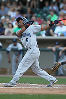 Lake County Captains outfielder Luigi Rodriguez #6 bats during a game against the Dayton Dragons at Fifth Third Field on June 25, 2012 in Dayton, Ohio. Lake County defeated Dayton 8-3. (Brace Hemmelgarn/Four Seam Images)