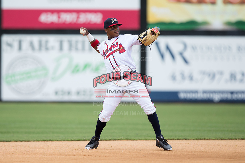 Danville Braves second baseman Nicholas Shumpert (1) warms up between innings of the game against the Princeton Rays at American Legion Post 325 Field on June 25, 2017 in Danville, Virginia.  The Braves walked-off the Rays 7-6 in 11 innings.  (Brian Westerholt/Four Seam Images)
