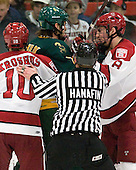 Eric Kroshus (Harvard - 10), Nik Pokulok (Clarkson - 2), Patrick McNally (Harvard - 8) - The Harvard University Crimson defeated the visiting Clarkson University Golden Knights 3-2 on Harvard's senior night on Saturday, February 25, 2012, at Bright Hockey Center in Cambridge, Massachusetts.