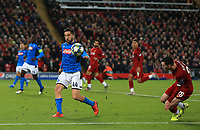 27th November 2019; Anfield, Liverpool, Merseyside, England; UEFA Champions League Football, Liverpool versus SSC Napoli ; Konstantinos Manolas of SSC Napoli blocks a cross by Andy Robertson of Liverpool - Editorial Use