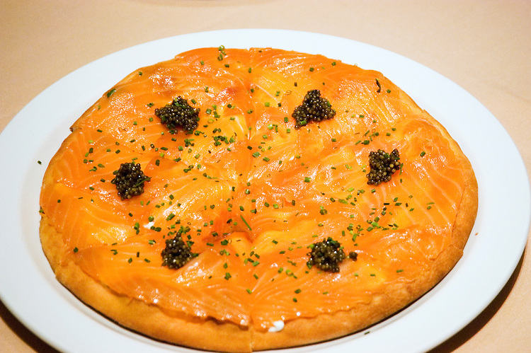 Salmon pizza at Spago's, Las Vegas, Nevada, NV, city, food, Wolfgang Puck's Spago Cafe in the Forum Shopping Mall of Caesars Palace Hotel and Casino,  property released, Chef's special Salmon Pizza with capers, nvlvcity266  .Copyright: Lee Foster, www.fostertravel.com, 510-549-2202,lee@fostertravel.com