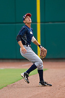 Right fielder Albert Almora #25 of Team Blue chases after a fly ball against Team Red during the USA 18U National Team Trials at the USA Baseball National Training Center on July 1, 2010, in Cary, North Carolina.  Photo by Brian Westerholt / Four Seam Images