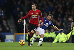 Henrik Mkhitaryan of Manchester United  and Leighton Baines of Everton during the Premier League match at Goodison Park, Liverpool. Picture date: December 4th, 2016.Photo credit should read: Lynne Cameron/Sportimage