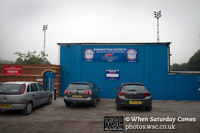 Ramsbottom United 1 Barwell 3, 03/10/2015. Riverside Stadium, Northern Premier League. An exterior view of the Harry Williams Riverside Stadium, home to Ramsbottom United before they played Barwell in a Northern Premier League premier division match. This was the club's 13th league game of the season and they were still to record their first victory following a 3-1 defeat, watched by a crowd of 176. Rams bottom United were formed by Harry Williams, the current chairman, in 1966 and progressed from local amateur football  in Bury to the semi-professional leagues. Photo by Colin McPherson.