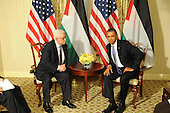 United States President Barack Obama met with President Mahmoud Abbas of the Palestinian National Authority, Wednesday, September 21, 2011 at the Waldorf Astoria Hotel in New York, New York..Credit: Aaron Showalter / Pool via CNP