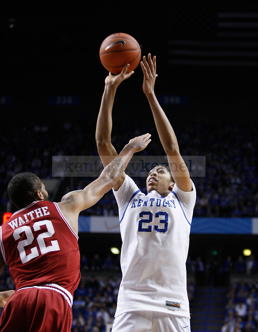 UK's Anthony Davis takes a shot against Arkansas at Rupp Arena on Tuesday, Jan. 17, 2012. Photo by Scott Hannigan | Staff