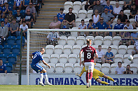 Luke Norris of Colchester United cooly fires home the only goal from the penalty spot during Colchester United vs Northampton Town, Sky Bet EFL League 2 Football at the JobServe Community Stadium on 24th August 2019