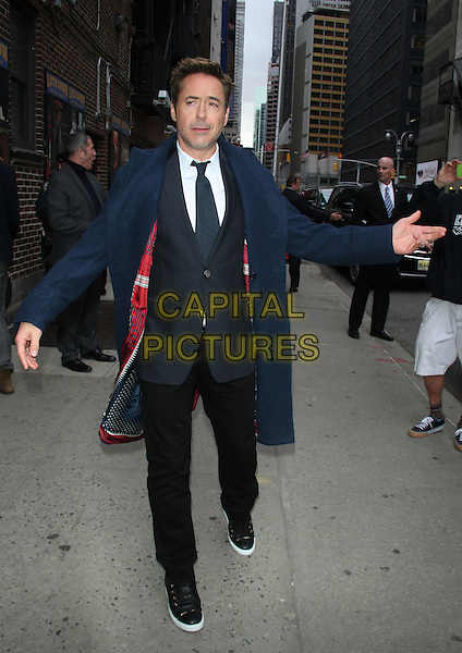 NEW YORK, NY - APRIL 23: Robert Downey Jr. at Late Show with David Letterman in New York City on April 23, 2015. <br /> CAP/MPI/RW<br /> &copy;RW/MPI/Capital Pictures