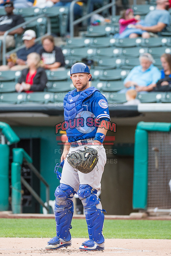 Brian Ward (10) of the Oklahoma City Dodgers during the game against the Salt Lake Bees in Pacific Coast League action at Smith's Ballpark on May 25, 2015 in Salt Lake City, Utah.  (Stephen Smith/Four Seam Images)