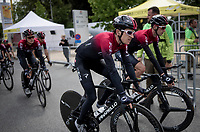 defending Tour champion Geraint Thomas (GBR/Ineos) after finishing the morning course reconnaissance <br /> <br /> Stage 2 (TTT): Brussels to Brussels (BEL/28km) <br /> 106th Tour de France 2019 (2.UWT)<br /> <br /> ©kramon