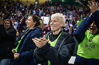 Seattle, Washington -  Sunday, September 11 2016: Seattle Reign FC forward Megan Rapinoe (15) celebrates the team's win after a regular season National Women's Soccer League (NWSL) match between the Seattle Reign FC and the Washington Spirit at Memorial Stadium. Seattle won 2-0.