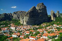 Kalambaka, Kastraki, Meteora, Greece, June 2006. The sleepy village of Kastraki is a good base to discover Meteora. The Monastaries of Meteora can be found high on the steepest rocks, Photo by Frits Meyst/Adventure4ever.com