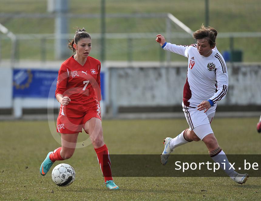 Switzerland U19 - Russia U19 : Carmen Pulver and Alena Zhizhova (right).foto DAVID CATRY / Nikonpro.be