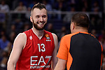 EA7 Emporio Armani Milan's Milan Macvan talking with the referee during Turkish Airlines Euroleage match between Real Madrid and EA7 Emporio Armani Milan at Wizink Center in Madrid, Spain. January 27, 2017. (ALTERPHOTOS/BorjaB.Hojas)