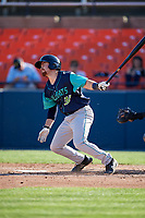 Lynchburg Hillcats second baseman Dillon Persinger (38) follows through on a swing during the first game of a doubleheader against the Frederick Keys on June 12, 2018 at Nymeo Field at Harry Grove Stadium in Frederick, Maryland.  Frederick defeated Lynchburg 2-1.  (Mike Janes/Four Seam Images)