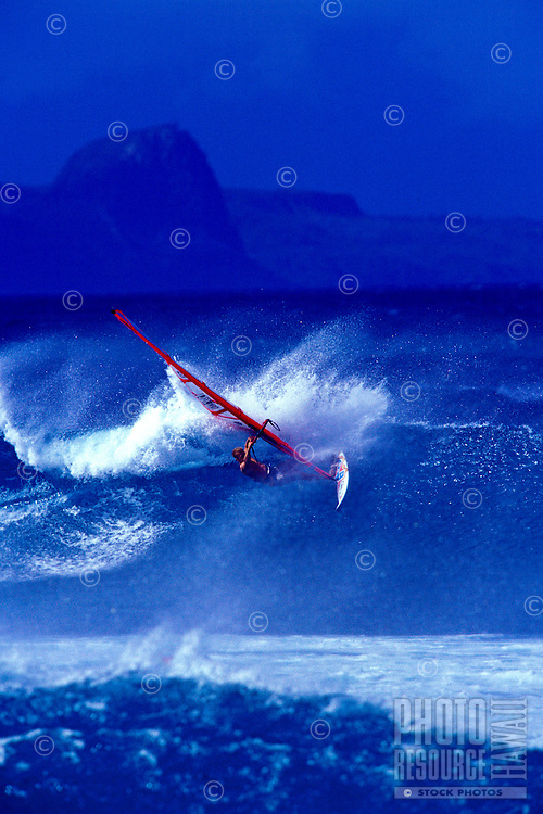Windsurfer at Hookipa beach on Maui