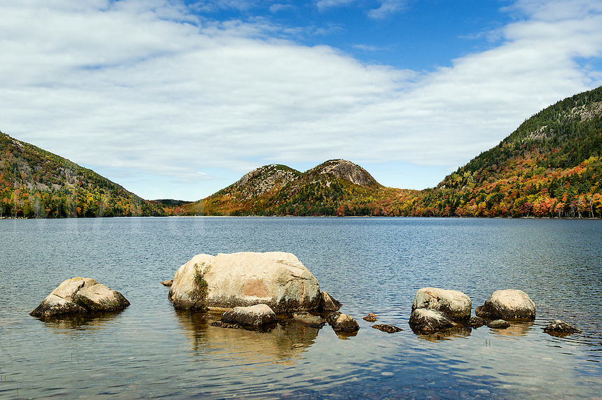 Jordan Pond and Bubble Mountain, Acadia National Park, Mt, Desert Island, Maine, USA