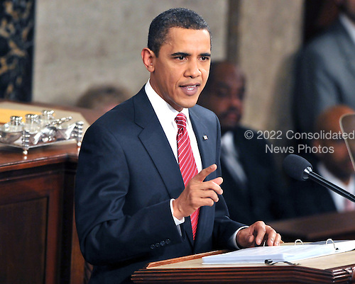 Washington, D.C. - February 24, 2009 -- United States President Barack Obama delivers an address to a Joint Session of Congress in the United States Capitol in Washington, D.C. on Tuesday, February 24, 2009..Credit: Ron Sachs / CNP.(RESTRICTION: NO New York or New Jersey Newspapers or newspapers within a 75 mile radius of New York City)