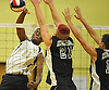 Zion Spruill #31 of West Hempstead makes a successful spike during a Nassau County Conference B-1 varsity boys volleyball match against Bellmore JFK at West Hempstead High School on Thursday, Oct. 13, 2016. Bellmore JFK won 3-1.