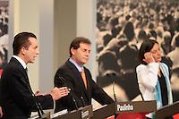 ATENÇÃO EDITOR: FOTO EMBARGADA PARA VEÍCULOS INTERNACIONAIS. SAO PAULO, 24  DE SETEMBRO DE 2012.  ELEIÇÕES  2012 - DEBATE TV GAZETA . Os candidatos Celso Russomanno, Paulinho da Força e Soninha Francine durante o debate promovido pela TV Gazeta e pelo site Terra. ADRIANA SPACA - BRAZIL PHOTO PRESS