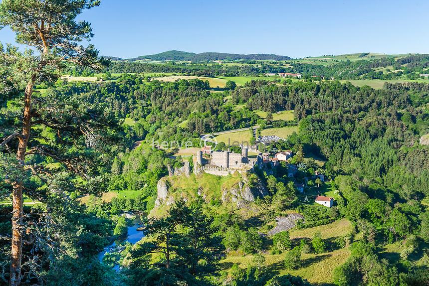 France, Haute-Loire (43), vallée de la Loire, Arlempdes, labellisé Les Plus Beaux Villages de France, ruines du château et chapelle romane dédiée à Saint-Jacques sur un rocher basaltique avec le village au pied