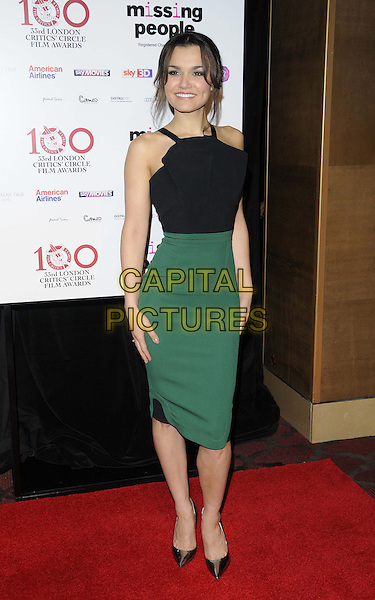 Samantha Barks.The London Critics' Circle Film Awards, May Fair Hotel, Stratton St., London, England..January 20th, 2013.full length black sleeveless top green skirt     .CAP/CAN.©Can Nguyen/Capital Pictures.