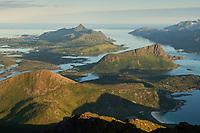 View across mountain peaks of Lofoten from Himmeltindan, the highest peak of Vestvågøy, Lofoten Islands, Norway