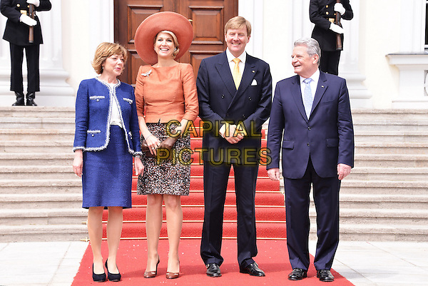 Joachim Gauck, Daniela Schadt, Willem Alexander, Maxima, <br /> Visit of King of The Netherlands Willem Alexander and Queen Maxima in Berlin, Germany. <br /> June 3rd 2013 <br /> full length blue suit skirt orange hat<br /> CAP/AAP<br /> &copy;AAP/Capital Pictures