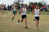 Festus' Michael Karls leads while Tyler Gillam runs along side as the pair went on to finish 1-3, with Karls winning, leading the Tigers to victory in the Class 3 race at the 2014 MSHSAA State Cross Country Championship in Jefferson City, MO. Saturday, November 8.