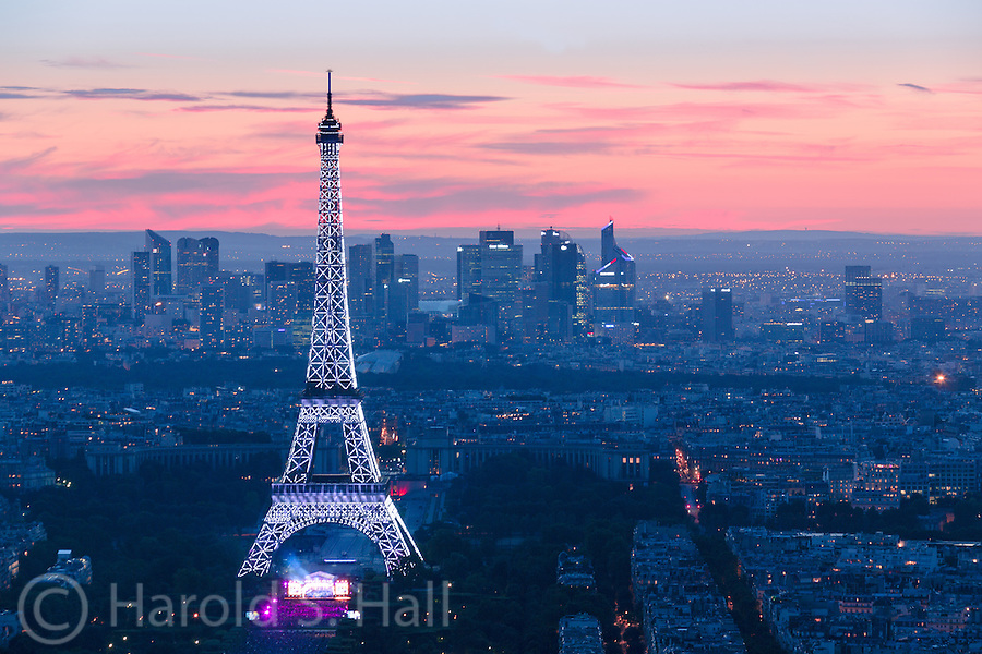 Fireworks at the 2014 Paris celebration of La Fête nationale or as we say, Bastile Day.  Sunset just before the firework display began.