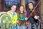 Local buskers Nancy Hartnett, Cliodhna Colbert and Andrea Collins playing on the streets of Abbeyfeale for the annual Fleadh by the Feale last Friday evening.
