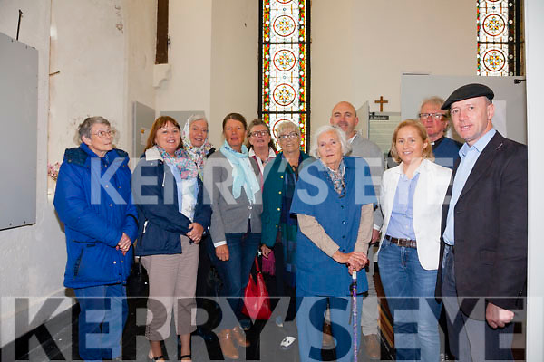 Pictured at the unveiling of the restored John Edward Butler Stained Glass window in St Michaels Church Waterville on Monday were l-r; Snoo Sinclair, Linda Jameson, Jenifer Butler, Diana Butler, Jennifer Butler, Denyce Biggs, Bunty Butler, Albert Walsh, Cllr Norma Moriarty Rev Michael Cavanagh & Deputy Michael Healy-Rae.