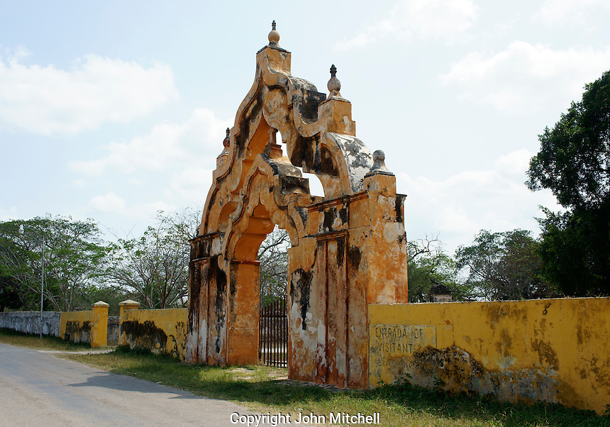 Double arched Moorish main gate at entrance to Hacienda Yaxcopoil, Yucatan, Mexico.