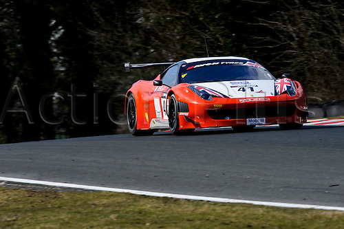 30.03.2013 Cheshire, England. The Mtech Ferrari 458 Italia GT3 of Derek JOHNSTON / Julian DRAPER in action during free practice 2 on the opening day of  round 1 of the Avon Tyres British GT Championship at Oulton Park Circuit.