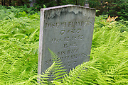 Joseph Flanders headstone at Gilman-Hall Cemetery along Sandwich Notch Road in Sandwich, New Hampshire USA. During the early nineteenth century thirty to forty families were part a hill farm community in the Notch. By 1860 only eight families lived in the Notch and by the turn of the twentieth century only one person, Moses Hall, lived in the Notch year around. Now a private residence the Hall Place is the only house left on the Notch Road.