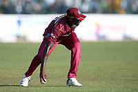 February 26th 2020, the Mahinda Rajapaksha International Stadium, Hambantota, Sri Lanka; One Day International cricket, Sri Lanka versus West Indies; Alzarri Joseph picks the ball up stopping four runs