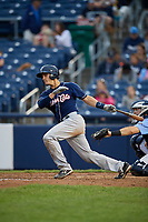 New Hampshire Fisher Cats catcher Max Pentecost (7) grounds out during a game against the Trenton Thunder on August 19, 2018 at ARM & HAMMER Park in Trenton, New Jersey.  New Hampshire defeated Trenton 12-1.  (Mike Janes/Four Seam Images)