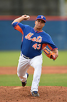 New York Mets pitcher Julian Hilario (43) during a minor league spring training game against the St. Louis Cardinals on March 27, 2014 at the Port St. Lucie Training Complex in Port St. Lucie, Florida.  (Mike Janes/Four Seam Images)