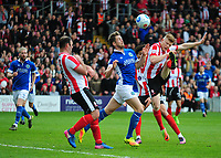 Lincoln City's Elliott Whitehouse gets above Macclesfield Town's Neill Byrne<br /> <br /> Photographer Andrew Vaughan/CameraSport<br /> <br /> Vanarama National League - Lincoln City v Macclesfield Town - Saturday 22nd April 2017 - Sincil Bank - Lincoln<br /> <br /> World Copyright &copy; 2017 CameraSport. All rights reserved. 43 Linden Ave. Countesthorpe. Leicester. England. LE8 5PG - Tel: +44 (0) 116 277 4147 - admin@camerasport.com - www.camerasport.com