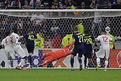 2nd November 2017, Nice, France; EUFA Europa League, Olympique Lyonnais versus Everton;  Anthony Lopes (lyon) dives to his lef to make a fine save
