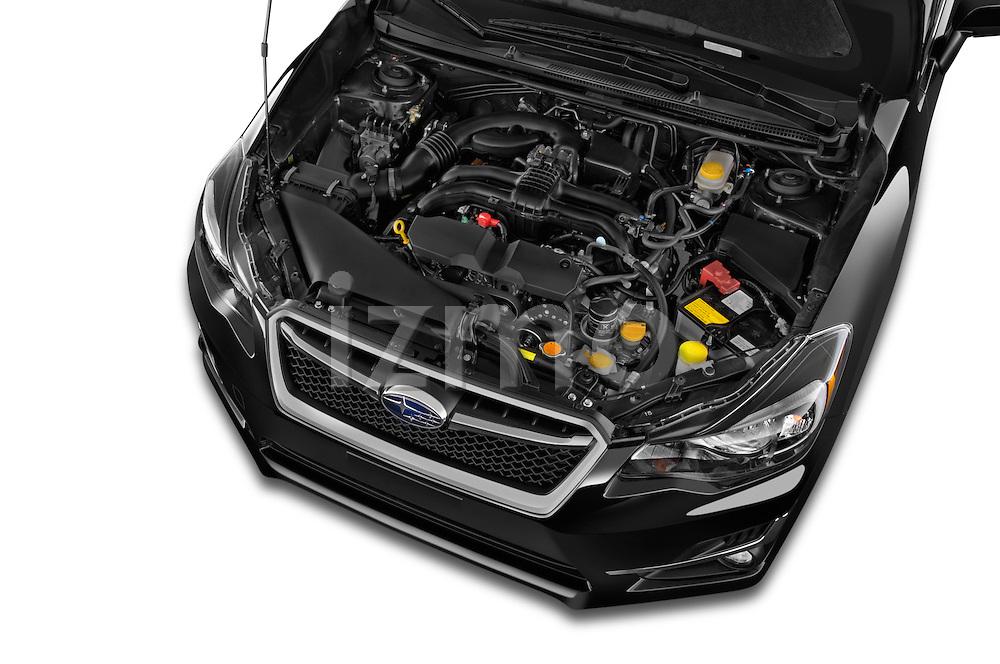 Car stock 2015 Subaru Impreza premium 4 Door Sedan engine high angle detail view