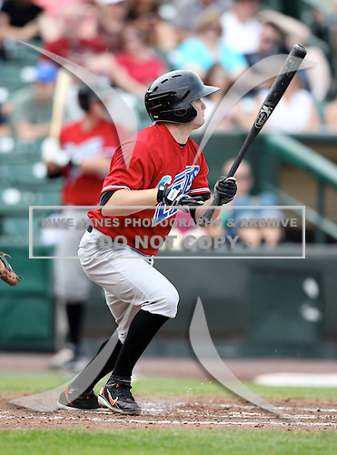 Norfolk Tides Second Baseman Blake Davis (1) during a game vs. the Rochester Red Wings at Frontier Field in Rochester, New York;  May 31, 2010.  Norfolk defeated Rochester by the score of 2-1.  Photo By Mike Janes/Four Seam Images