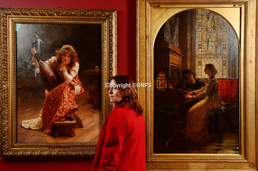 BNPS.co.uk (01202 558833)<br /> Pic: ZacharyCulpin/BNPS<br /> <br /> A gallery visitor with 1900 painting 'Apres?' (left) and 1887 painting, 'Harmony' by Frank Dicksee.<br /> <br />  A Pre-Raphaelite exhibition opens today at the Russell Coates Gallery in Bournemouth. <br /> <br /> Beyond the Brotherhood: The Pre-Raphaelite Legacy exhibition highlights its beginings, the importance of the Pre-Raphaelite movement all the way to the high fantasty art of the Lord of the Rings and Game of Thrones. <br /> <br /> In partnership with Southampton City Art Gallery and featuring loans from the Victoria and Albert Museum, the Royal Academy, Tate Britan the exhibition and runs until 21st June